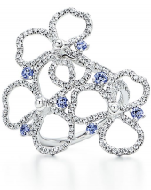 Кольцо Tiffany Paper Flowers Diamond and Tanzanite Open Flower Ring GRP10557